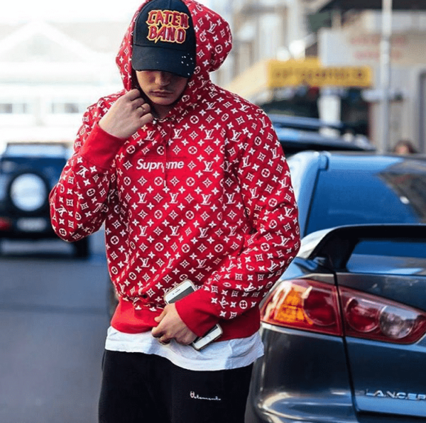 5b82c58bf5f3 SUPREME X LV Hoodie Red sweatshirt replica 2018