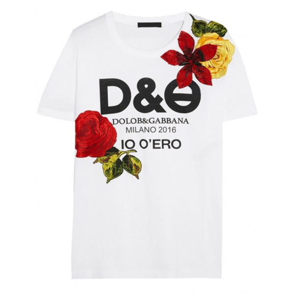 D&G Tshirt Woman Dolce Gabbana Printed slogan embroidered flowers paillette