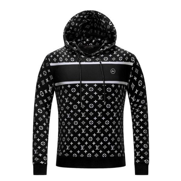 SUPREME X LV Logo Sweatshirt  Black  Hooded