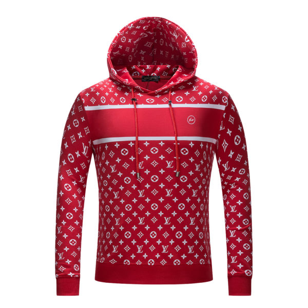 SUPREME X LV Logo Sweatshirt  Red  Hooded