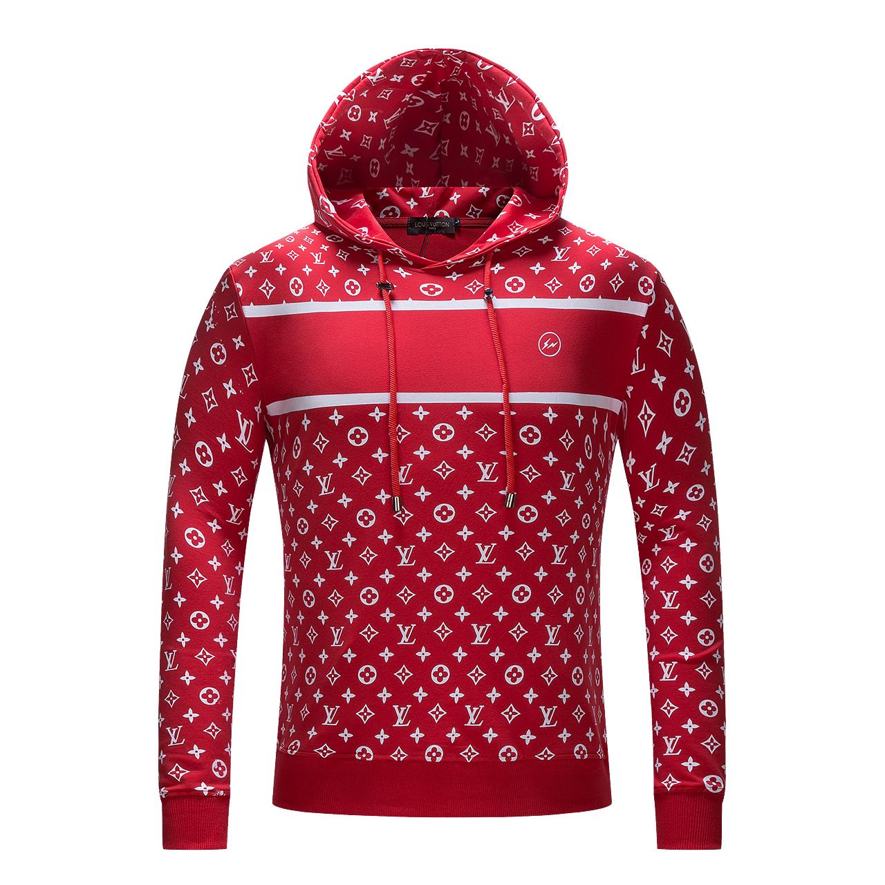 SUPREM X LV Logo Sweatshirt Red Hooded