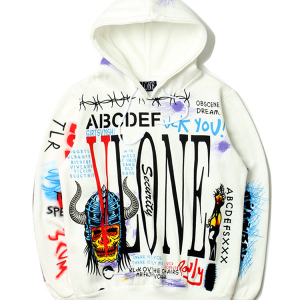 VLONE Hoodies New Style Graffiti Hip Hop Pullover