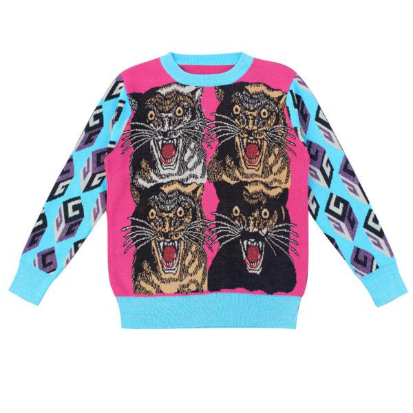 Luxury Brand Sweaters Tiger intarsia for Women