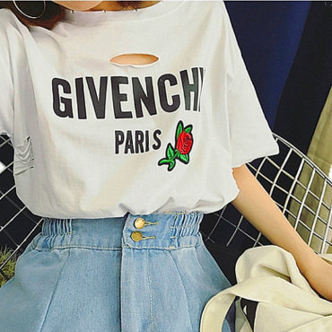 replica GiVENCHY Letter printed WOMEN'S HOLE SHIRTS