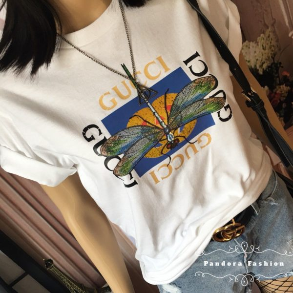 c6af813c gucci GC Shirt Dragonfly And Butterfly Logo woman/mens