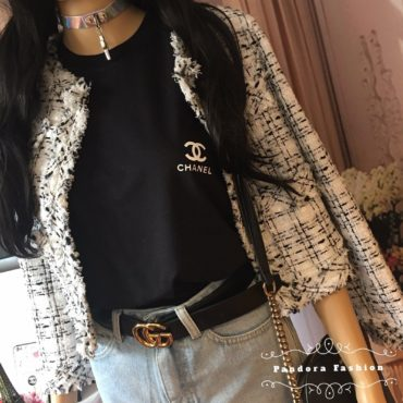 Chanel CC logo T shirt graphic tumblr Girls tee